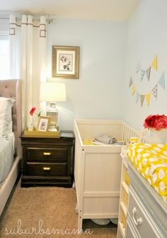 Half bedroom nursery in master curtain parents ci christie chase navy boy raising baby one Small Master Bedroom, Baby Bedroom, Baby Room Decor, Nursery Nook, Nursery Ideas, Bedroom Ideas, One Bedroom Apartment, Home Bedroom, Small Space Nursery