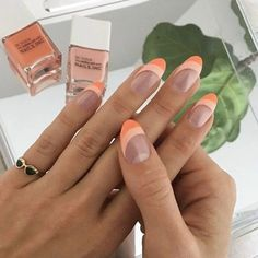 Color valentines Peach is truly one of my favorite nail colors to wear, especially when I& p. Peach is truly one of my favorite nail colors to wear, especially when I& patiently awaiting spring 🌼 I love these colors from the newest… Aycrlic Nails, Swag Nails, Hair And Nails, How To Gel Nails, Red Tip Nails, French Manicure Nails, Stiletto Nails, Glitter Nails, Coffin Nails