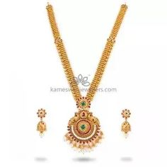 Buy Necklaces Online   Kanti Carved With CZ Pachi Pendant from Kameswari Jewellers Pearl Necklace Designs, Gold Earrings Designs, Antique Necklace, Gold Pendant, Pendant Jewelry, Mango Necklace, Gold Jewelry Simple, Gold Necklaces, Necklace Online