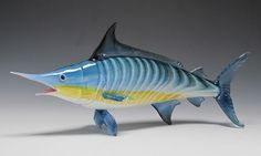 Blue Marlin - Hand-Blown Glass Sculpture (Available in Small, Medium, Large Sizes)