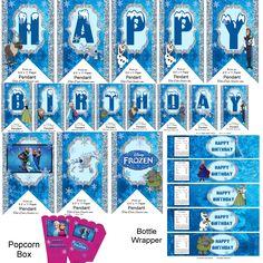 Disney Frozen Party Kit Banner Bottle Wrapper by TahDahStudio