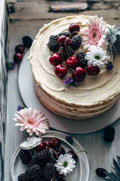 Fresh Cherry Cake Recipe From Scratch | alsothecrumbsplease.com Make this Fresh Cherry Cake recipe from scratch! Soft and moist vanilla cake meets 5 ingredient cherry pie filling and creamy vanilla buttercream. With video! #cherrycake #cherrycakerecipe