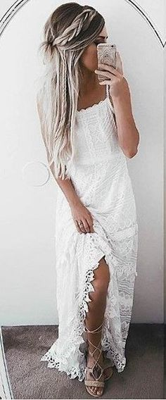 #summer #lovely #outfits |  White Lace Maxi Dress