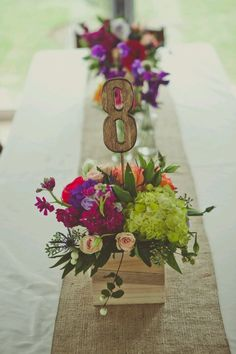 Beautiful rustic shabby chic centerpieces. Easy DIY table numbers. Craft store numbers & sticks/dowels, stain & hot glue.