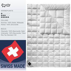 Das 4-Saisons Duvet Rheumalind ermöglicht zusammen mit einer Decke aus Seide und eine aus Schafschurwolle ein wunderbares Bettklima.