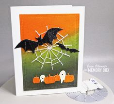 Add a sparkly stitched spiderweb by Jean Okimoto for the Memory Box Design Team Halloween Cards, Halloween Pumpkins, Memory Box Cards, Giant Candy, Distress Oxides, Thread Crochet, Box Design, Clear Stamps, Watercolor Paper