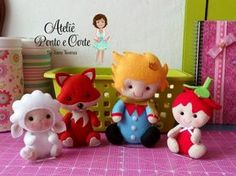 Felt Baby Prince and Forest Animals Felt Doll Patterns, Baby Patterns, Felt Ornaments, Holiday Ornaments, Felt Crafts, Diy And Crafts, Little Prince Party, Baby Prince, Felt Baby