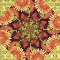 "**NEW** 12 Kaleidoscope Block Quilt Kit JOYFUL BLOOMS 10"" Blocks Pre Cut Kit -"