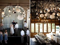 Barn wedding.  Would you just LOOK at all the light bulbs and globes and spheres and chandeliers hanging from that ceiling?  Hoochie-mama!
