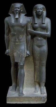 King Menkaura (Mycerinus) and queen Egyptian Old Kingdom, Dynasty reign of Menkaura B. Found at: Egypt, Giza, Menkaura Valley Temple Ancient Egypt Religion, Statues, Nefertiti Bust, Arts And Crafts House, Greek Art, Ap Art, Egyptian Art, Egyptian Temple, Queen