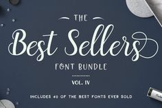 40 of The Best Seller's Font Bundle - top 40 best selling fonts - graphic design bundle - font bundle - includes 40 fonts for personal and commercial use! Get them while they are on sale, only 30 days.