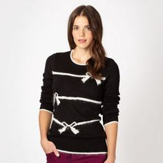 Red Herring Black striped and bow knit jumper- at Debenhams.com