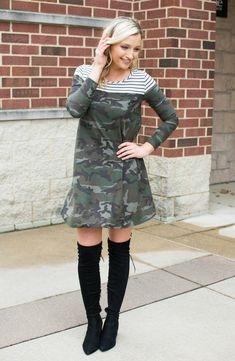 The Stripe & Camo Print Long Sleeve Dress will keep your style on point! Pair this dress with knee-high boots and some jewels for your next girls night out!