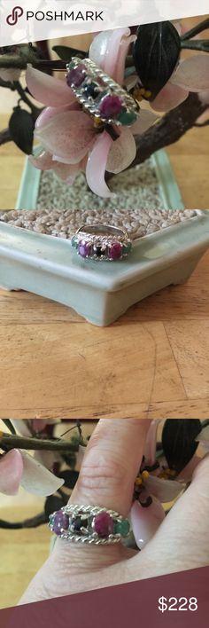 Amazing 925 multi stone ring Gorgeous ring marked 925 has amazing naturals stone ruby emerald sapphire multi natural stone ring  Jewelry Rings