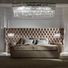 Button Upholstered Leather Italian Bed with Extended Headboard at Juliettes Interiors - Chelsea, London. Luxury Bedroom Furniture, Master Bedroom Interior, Bedroom Bed Design, Luxury Bedding, Furniture Design, Wooden Furniture, Custom Furniture, Antique Furniture, Furniture Decor