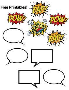 Week 17 Comic book printables, great for a super hero theme! Superhero Classroom Theme, Classroom Themes, Superhero Door, Superhero Preschool, 7 Arts, For Elise, Summer Reading Program, School Themes, School Ideas