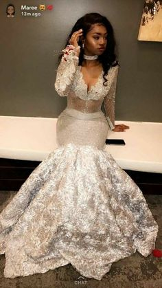 Silver prom dress,new prom dress,modest prom dress,mermaid evening dress Black Girl Prom Dresses, Cute Prom Dresses, Prom Outfits, Modest Dresses, Homecoming Dresses, Girls Dresses, Prom Goals, Mermaid Evening Dresses, Prom Night