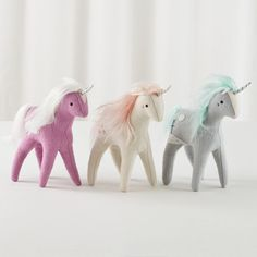 Shop Mythical Edition Plush Unicorns (Set of 3).  It used to be that if you wanted your own unicorn, you had to ask your fairy godmother for one.  But thanks to artist Sabina Gibson, you can just order one.  Your fairy godmother could use a break, too.