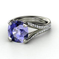 Cushion Tanzanite Platinum Ring with Diamond & Diamond  - lay_down