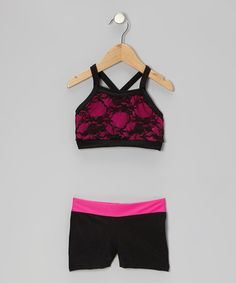Love this Hot Pink & Black Lace Sports Bra & Shorts - Girls by Elliewear on #zulily! #zulilyfinds