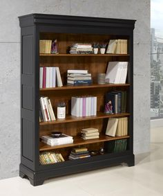 Wine cabinet - L & atelier de k & roleWINE CABINET MoreSolid cherry bookcase Louis Philippe style black worn and patinated .Bookcase made of solid cherry wood in Louis Philippe style, Farmhouse Living Room Furniture, Furniture Makeover, Bookcase, Revamp Furniture, Home Furniture, Home Decor, Recycled Furniture, Bookcase Makeover, Home Deco