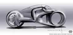 TRON UPRISING. Final concept drawing of the Tron Uprising Light Cycle. A rather simplified design to be compatible with the TV show's animation style. Design: Daniel Simon for DISNEY TELEVISION