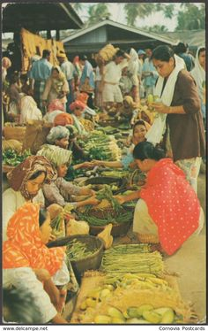 A Malay Market Scene, Malaya, - Malayan Color Views Co Postcard Old Pictures, Old Photos, Vintage Prints, Vintage Posters, Dutch East Indies, Postcards For Sale, Wallpaper Pictures, People Around The World, My Drawings