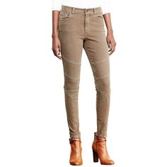 Lauren Ralph Lauren Stretch Skinny Moto Jeans ($86) ❤ liked on Polyvore featuring jeans, brown, zipper skinny jeans, stretch denim skinny jeans, stretch jeans, stretch skinny jeans and skinny leg jeans