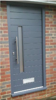 A gorgeous Contemporary style Accoya door painted in RAL7015