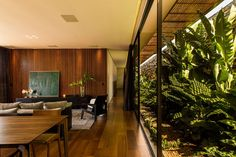 A walled garden filled with tropical plants flanks a glazed hallway at this house in the Brazilian town of Franca, which is influenced by the country's modernist architecture.