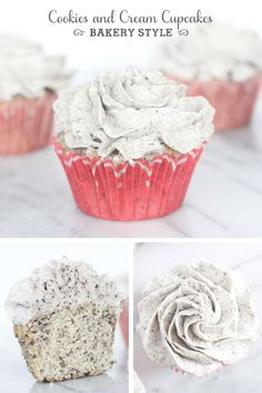 The ultimate bakery style cookies and cream cupcakes with bakery style buttercream frosting!