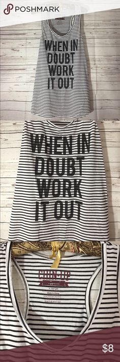 "Chin Up Apparel Black White Striped Tank Top XL Women's casual every day work out tank top from Chin Up Apparel in size XL. Made from polyester and rayon blend of material. Black and white striped with racerback feature. Front has ""When In Doubt Work It Out"" printed on it.  All measurements approximate.  Armpit to armpit (one side): 18.5"" Length from shoulder: 28"" Chin Up Apparel Tops Tank Tops"