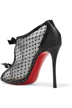 e2d2d31ba Christian Louboutin - Empiralta 120 bow-embellished embroidered mesh sandals.  Black SandalsShoes SandalsBlack Patent LeatherChristian ...