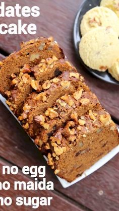 date cake recipe, date walnut cake, eggless date and walnut loaf with step by step photo/video. traditional dark loaf cake with plain flour, date & walnuts. Eggless Recipes, Eggless Baking, Healthy Cake Recipes, Baking Recipes, Sweet Recipes, Snack Recipes, Eggless Dates Cake Recipe, Eggless Desserts, Recipes With Dates Healthy