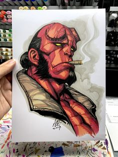 A belated sketch for Hellboy anniversary. Character Design Animation, Character Drawing, Pencil Art Drawings, Art Sketches, Hellboy Tattoo, Dibujos Tumblr A Color, Graffiti Doodles, Arte Dc Comics, Copic Art