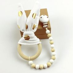 Find More Baby Teethers Information about Wooden Teething Decor(1pc)white Gold…