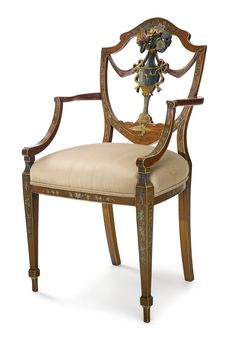 A GEORGE III POLYCHROME PAINTED SATINWOOD ARMCHAIR. Estimate  6,000 — 9,000  USD  LOT SOLD. 5,625 USD