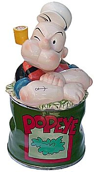 "CJ5120  Popeye Cookie Jar  ""© 2000 King Features Syndicate, Inc. ™ Hearst Holdings Inc Licensee Enesco Group, Inc."" Measures approximately 12.5"" high. Ceramic. Mint Condition in the original box."