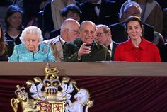 The Duchess of Cambridge, who was sat next to Prince Philip, wore a Dolce and Gabbana dress combined with a red Zara jacket