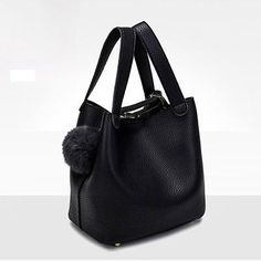 Top-Handle Women Bags Fashion Pu Women's Leather Handbags Black Women Bag Tassel Fur Bag Ball High Quality Small Bucket Bags Sac