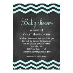 Chalkboard & Chevron Baby Shower Invitation