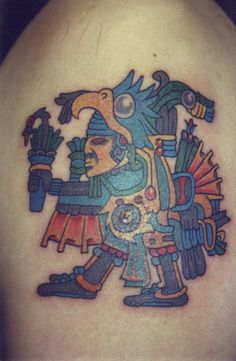 A tribal tattoo of an Aztec eagle warrior who wears an eagle head and protects the aztec people