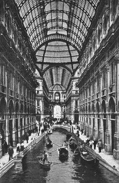 La Galleria Vittorio Emanuele quando il Naviglio era scoperto