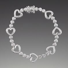 Sterling Silver Diamond Heart Link Bracelet by Lenox