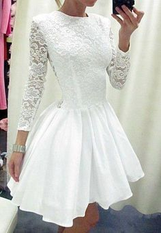 2017 White Homecoming Dresses Short Cheap A Line Lace Chiffon Prom Dress with Long Sleeves Zipper Back Cocktail Dress