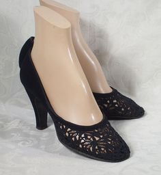 Vintage 1950s Shoes Black Lace High Heels - Baby Dolls by Sundial De Luxe Sz 6.5 - 7 on Etsy,