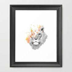WANT - in Scoop White Frame // If I roar (The King Lion) Framed Art Print by Budi Satria Kwan - $37.00