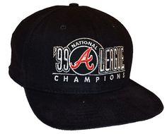 new concept 6866f 31e51 Vintage 90s 1999 NEW ERA MLB Atlanta Braves NL Champions Snapback Hat