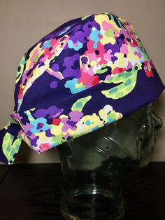 Royal Purple Watercolour Floral Surgical Scrub Hat, Beautiful Women's Flower Pixie Scrub Cap, Tie Back Cap, Custom Caps Company by CustomCapsCompany on Etsy