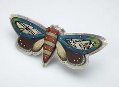 """Cicada"", sterling silver, copper, prismacolor pencil, mica - pin/pendant www.debkarash.com"